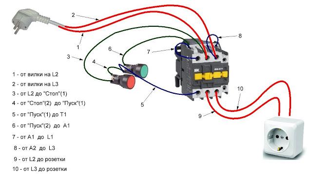 Как подключить реверсивный магнитный пускатель. Как подключить.