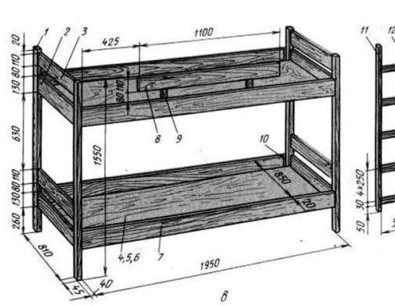 детская кровать из дерева схема